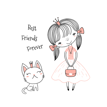 Hand drawn vector illustration of a cute little princess in a pink dress and a kitten, with text.