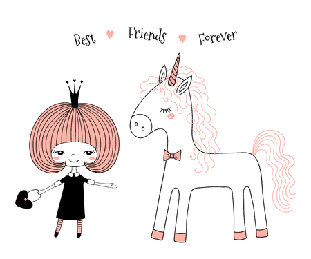 Hand drawn vector illustration of a cute little princess in a black dress and a unicorn, with text.