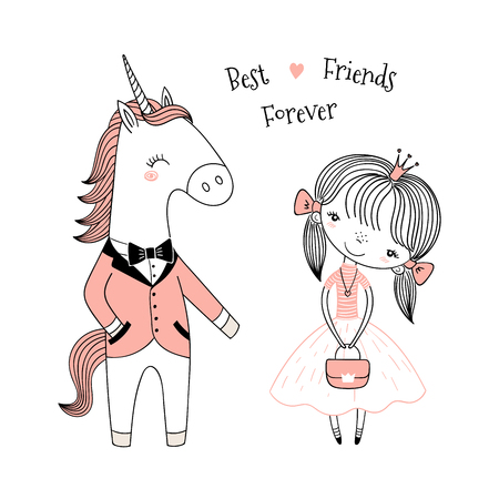 Hand drawn vector illustration of a cute little princess in a pink dress and unicorn