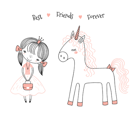Hand drawn vector illustration of a cute little princess in a pink dress and a unicorn, with text. Isolated objects on white background. Line drawing. Unfilled outline. Design concept for kids print.