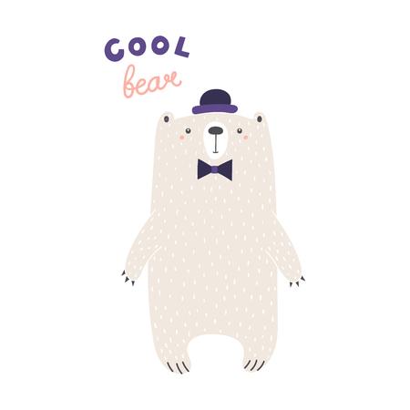 ●ボウラーハット、ボウネクタイ、テキストクールベアで可愛い面白いクマの手描きベクトルイラスト。白い背景に分離されたオブジェクト。スカ
