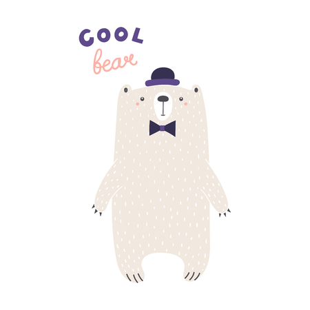 Hand drawn vector illustration of a cute funny bear in bowler hat, bow tie, with text Cool bear. Isolated objects on white background. Scandinavian style design. Concept for apparel, nursery print.