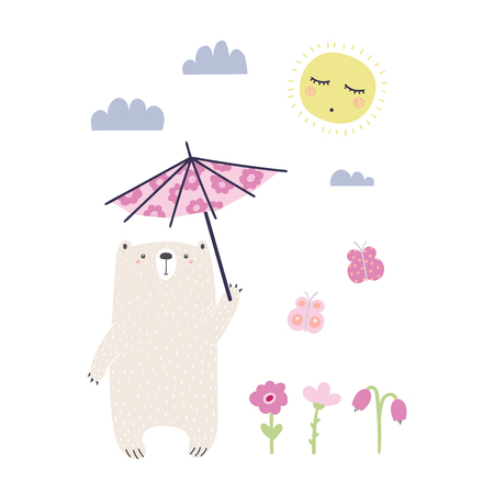 Hand drawn vector illustration of a cute funny bear with a parasol, going for a walk on a sunny day.
