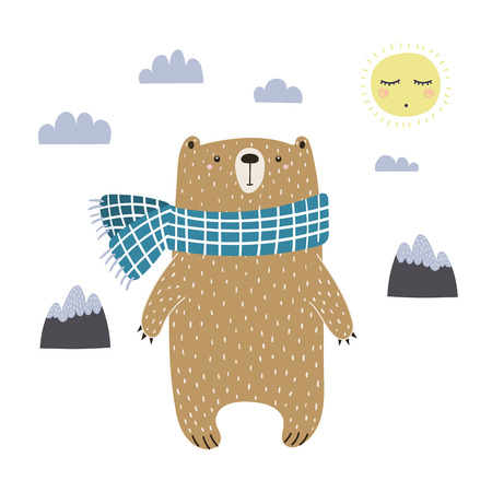 Hand drawn vector illustration of a cute funny bear in a muffler, going for a walk.