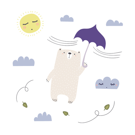Hand drawn vector illustration of a cute funny bear with umbrella, flying in the sky. Isolated objects on white background. Scandinavian style design. Concept apparel, nursery print.