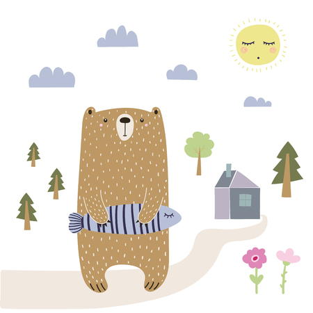 Hand drawn vector illustration of a cute funny bear holding a fish, going home.