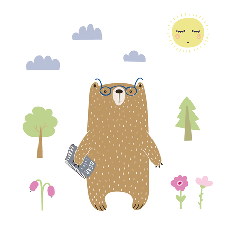 Hand drawn vector illustration of a cute funny bear in glasses with a book, going for a walk. Isolated objects on white background. Scandinavian style design. Concept for kids apparel, nursery print. Stock Illustratie