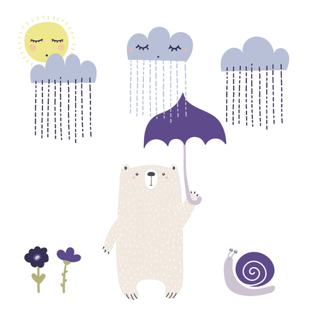 Hand drawn vector illustration of a cute funny bear with umbrella, going for a walk on a rainy day. Illustration