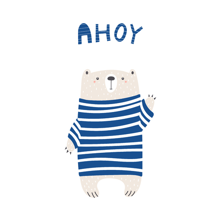 Hand drawn vector illustration of a cute funny bear in a striped sweater, waving, with text Ahoy.
