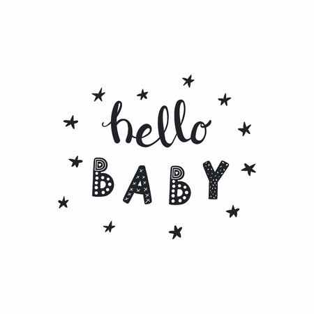 Hand drawn lettering quote Hello Baby with stars, in monochrome. Isolated objects on white background. Vector illustration. Design concept for typographic poster, baby shower, nursery print.  イラスト・ベクター素材