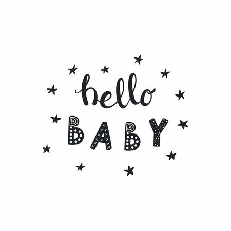 Hand gezeichnetes Beschriftungszitat hallo Baby mit Sternen, im Monochrom. Isolierte Objekte auf weißem Hintergrund. Vektor-illustration Konzept des Entwurfes für typografisches Plakat, Babyparty, Kinderzimmerdruck.