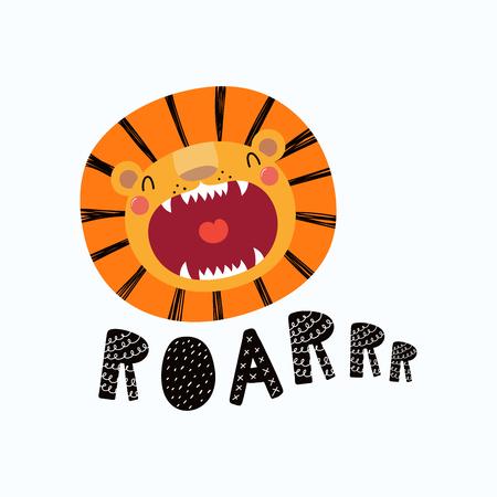 Dibujado a mano ilustración vectorial de una linda cara de león divertido con la boca abierta, letras cita Rugido. Objetos aislados Diseño plano de estilo escandinavo. Concepto para niños imprimir. Ilustración de vector