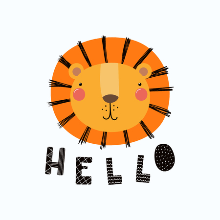 Hand drawn vector illustration of a cute funny lion face, with lettering quote Hello. Isolated objects.