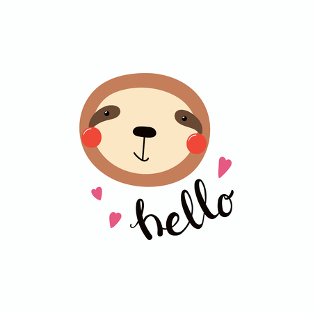 Hand drawn vector illustration of a cute funny sloth face, with hearts, lettering quote Hello. Isolated objects. Illustration