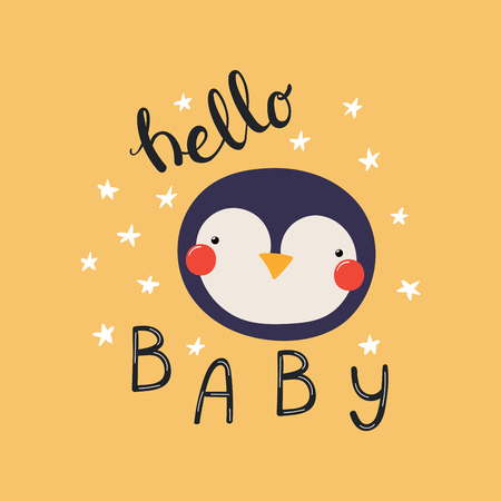 Hand drawn vector illustration of a cute funny penguin face, with stars, lettering quote Hello Baby. Isolated objects. Scandinavian style flat design. Concept for children print.