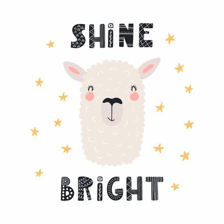 Illustration vectorielle dessinés à la main d'un visage de lama drôle mignon, avec lettrage citation Brille brillante. Objets isolés. Design plat de style scandinave. Concept pour les enfants imprimer.