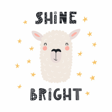 Hand drawn vector illustration of a cute funny llama face, with lettering quote Shine bright. Isolated objects. Scandinavian style flat design. Concept for children print.