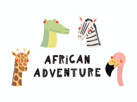 Bergeben Sie gezogene Vektorillustration von Gesichtern eines netten lustigen Tieres, mit Beschriftungszitat Afrikanerabenteuer. Isolierte Objekte. Flaches Design im skandinavischen Stil. Konzept für Kinder drucken. Standard-Bild - 98124131