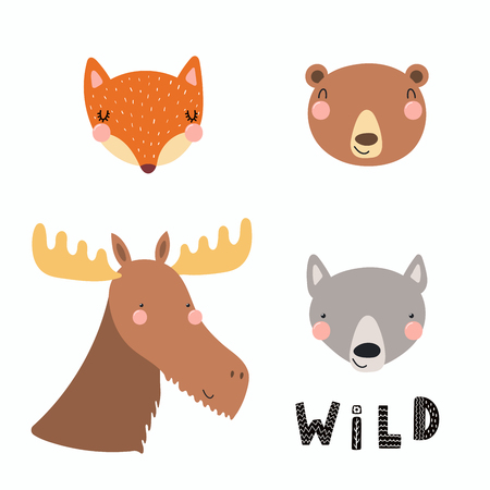 Hand drawn vector illustration of a cute funny forest animal faces, with lettering quote Wild. Isolated objects. Scandinavian style flat design. Concept for children print. Ilustração