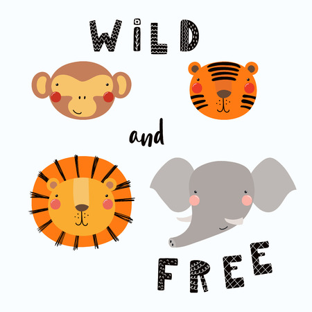 Hand getekend vectorillustratie van een schattige grappige dieren gezichten, met belettering citaat Wild en gratis. Geïsoleerde objecten. Vlak ontwerp in Scandinavische stijl. Concept voor kinderen afdrukken. Stockfoto - 98124133