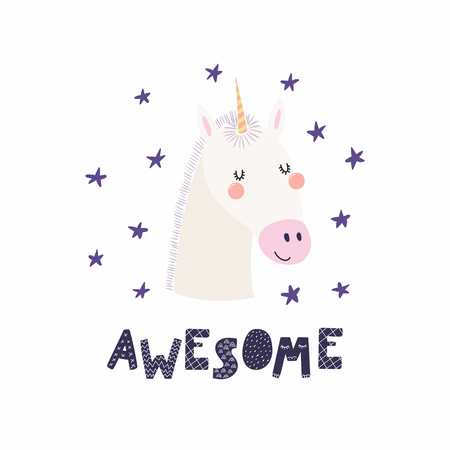 Hand drawn vector illustration of a cute funny unicorn face, with stars, lettering quote Awesome. Isolated objects. Scandinavian style flat design. Concept for children print. Illustration