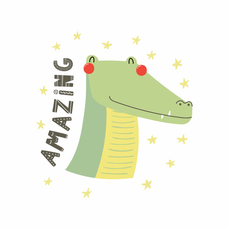 Hand drawn vector illustration of a cute funny crocodile face, with stars, lettering quote Amazing. Isolated objects. Scandinavian style flat design. Concept for children print.
