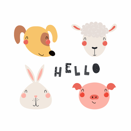 Hand drawn vector illustration of a cute funny farm animal faces, with lettering quote Hello. Isolated objects. Scandinavian style flat design. Concept for children print.
