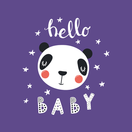 Hand drawn vector illustration of a cute funny panda face, with stars, lettering quote Hello Baby. Isolated objects. Scandinavian style flat design. Concept for children print.