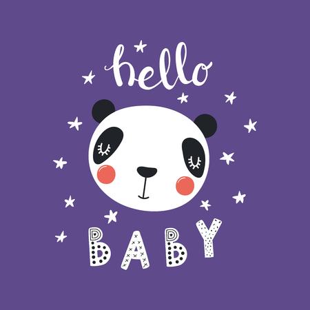 Illustration vectorielle dessinés à la main d'un visage de panda drôle mignon, avec des étoiles, lettrage citation Bonjour bébé. Objets isolés. Design plat de style scandinave. Concept pour les enfants imprimer. Vecteurs