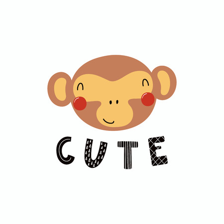 Hand drawn vector illustration of a cute funny monkey face, with lettering quote Cute. Isolated objects. Scandinavian style flat design. Concept for children print. Ilustrace
