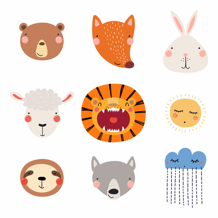 Set of cute funny hand drawn different animal faces, sun, cloud with rain. Isolated objects. Vector illustration. Scandinavian style flat design. Concept for children print. Illustration