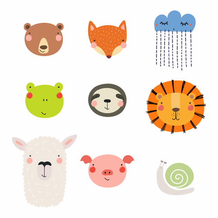Set of cute funny hand drawn different animal faces, snail, cloud with rain. Isolated objects. Vector illustration. Scandinavian style flat design. Concept for children print. Illustration