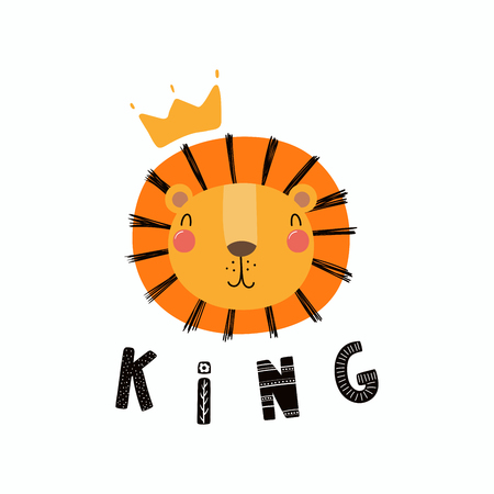 Hand drawn vector illustration of a cute funny lion face in a crown, with lettering quote King. Isolated objects. Scandinavian style flat design. Concept for children print.