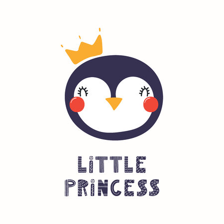 Hand drawn vector illustration of a cute funny penguin face in a crown, with lettering quote Little princess. Isolated objects. Scandinavian style flat design. Concept for children print.
