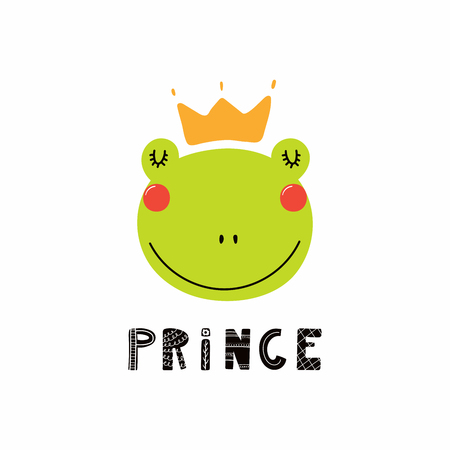 Hand drawn vector illustration of a cute funny frog face in a crown, with lettering quote Prince. Isolated objects. Scandinavian style flat design. Concept for children print. Illustration