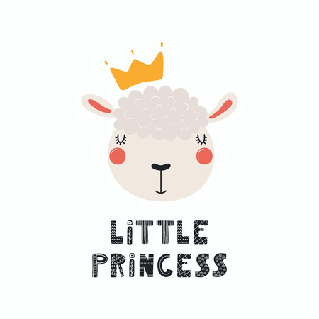 Hand drawn vector illustration of a cute funny sheep face in a crown, with lettering quote little princess. Isolated objects, Scandinavian style flat design concept for children print.