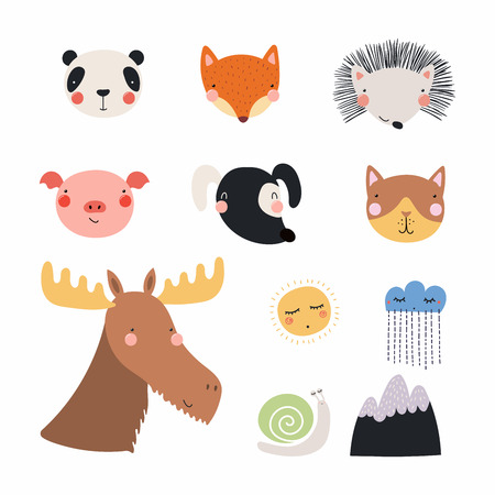 Set of cute funny hand drawn different animal faces, sun, cloud with rain, mountain, snail. Isolated objects. Vector illustration. Scandinavian style flat design. Concept for children print. Illustration