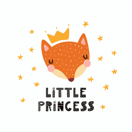 Hand drawn vector illustration of a cute funny fox face in a crown, with lettering quote Little princess. Isolated objects. Scandinavian style flat design. Concept for children print. Vettoriali