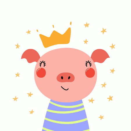 Hand drawn vector illustration of a cute funny piggy in a shirt and crown, with stars. Isolated objects. Scandinavian style flat design. Concept for children print. Illustration