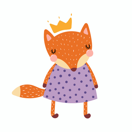Hand drawn vector illustration of a cute funny fox girl in a dress and crown. Isolated objects. Scandinavian style flat design. Concept for children print.