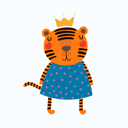Hand drawn vector illustration of a cute funny tiger girl in a dress and crown. Isolated objects. Scandinavian style flat design. Concept for children print. Illustration