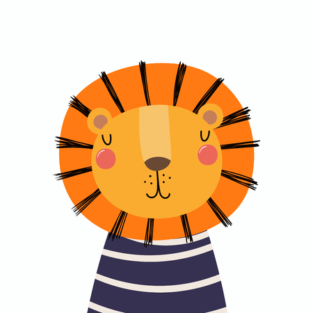 Hand drawn vector illustration of a cute funny lion in a shirt. Isolated objects. Scandinavian style flat design. Concept for children print.