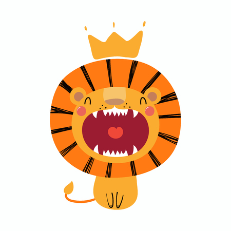 Hand drawn vector illustration of a cute funny lion in a crown.