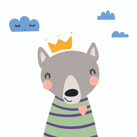Hand drawn vector illustration of a cute funny wolf in a shirt and crown, with clouds. Isolated objects, Scandinavian style flat design concept for children print.