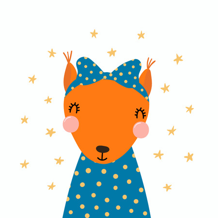 Hand drawn vector illustration of a cute funny squirrel in a shirt, with a ribbon, with stars. Isolated objects. Scandinavian style flat design. Concept for children print. Illustration