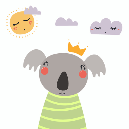 Hand drawn vector illustration of a cute funny koala in a shirt and crown, with sun and clouds. Isolated objects. Scandinavian style flat design. Concept for children print.