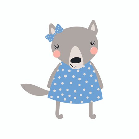 Hand drawn vector illustration of a cute funny wolf girl in a dress, with a ribbon Isolated objects. Scandinavian style flat design. Concept for children print.