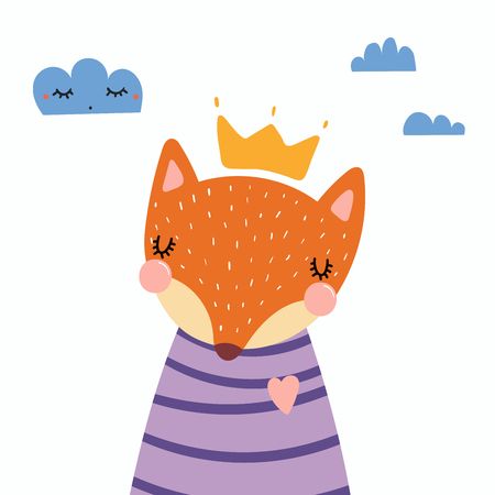 Hand drawn vector illustration of a cute funny fox in a shirt and crown, with clouds. Isolated objects. Scandinavian style flat design. Concept for children print.