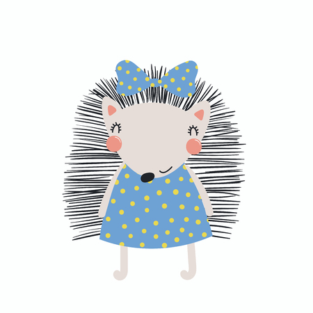 Hand drawn vector illustration of a cute funny hedgehog girl in a dress, with a ribbon. Isolated objects, Scandinavian style flat design concept for children print.