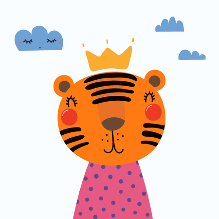 Hand drawn vector illustration of a cute funny tiger in a shirt and crown, with clouds. Isolated objects. Scandinavian style flat design. Concept for children print.